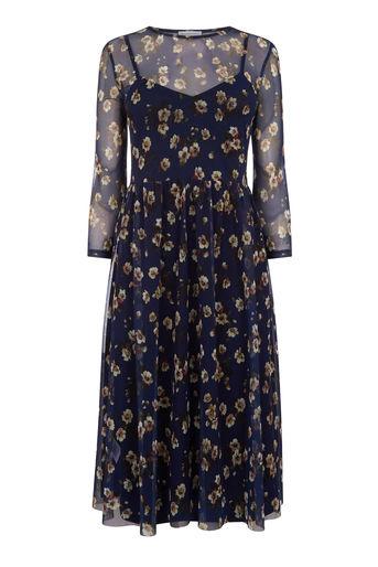 Warehouse Mae Floral Print Mesh Dress