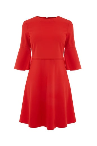 Oasis Red Flute Sleeve Dress