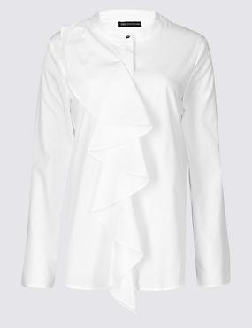 M&S Pure Cotton Ruffle Blouse