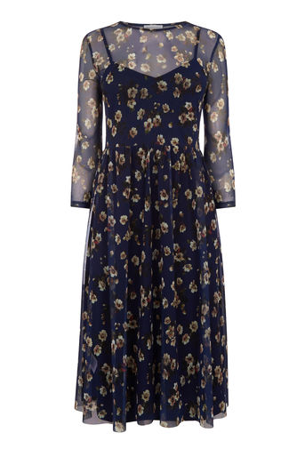 Warehouse Mae Floral Print Mesh Dress