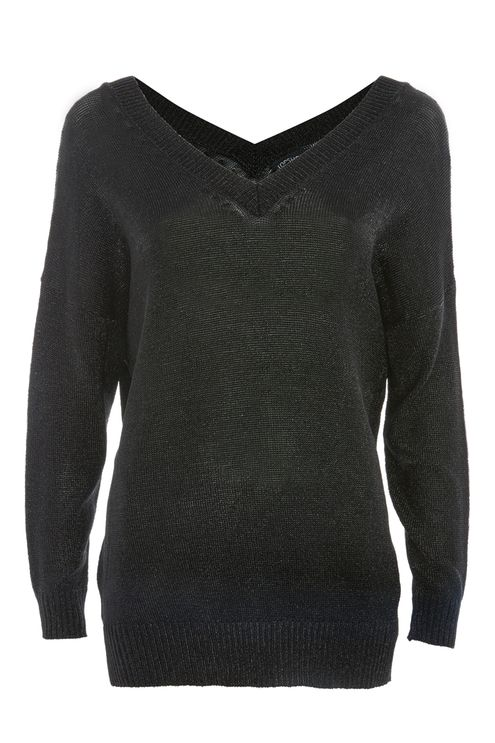 Metal Yarn V-Neck Jumper
