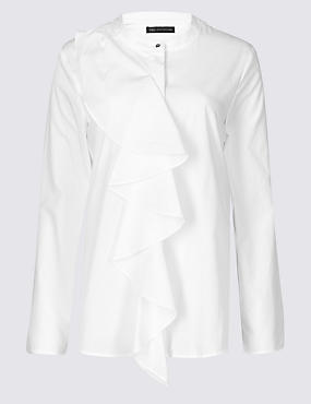 M&S Pure Cotton Ruffle Blouse