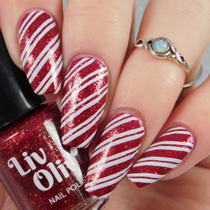 Click Your Heels Candy Stripes Nail Art