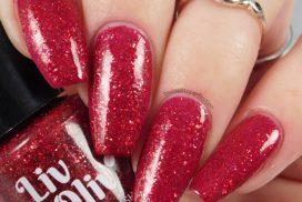 Red Glittery Nail Polish