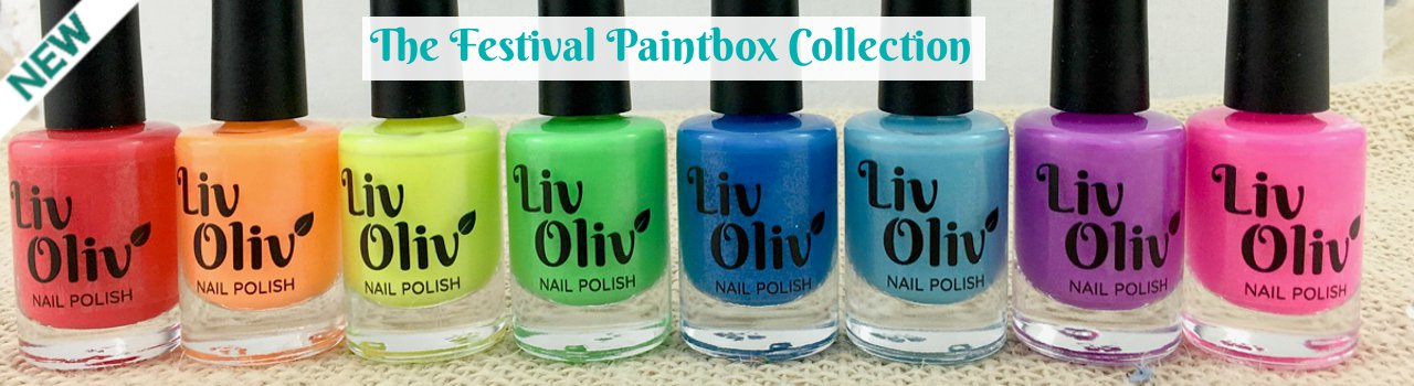 row of red, orange, yellow, green, blue, turquoise, purple and pink nail polish