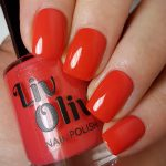Love swatch - bright neon red gloss top coat