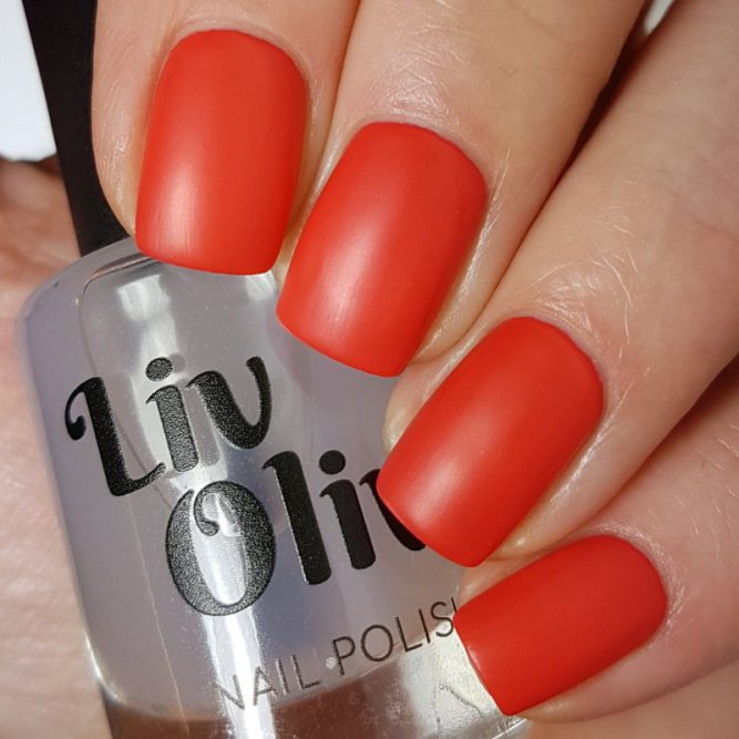 Love swatch - bright neon red matte top coat