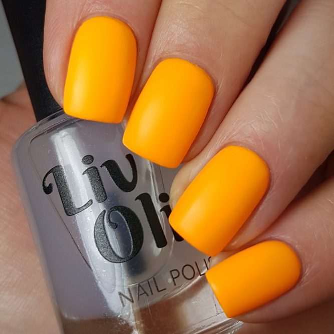 Carnival swatch - bright neon orange matte top coat