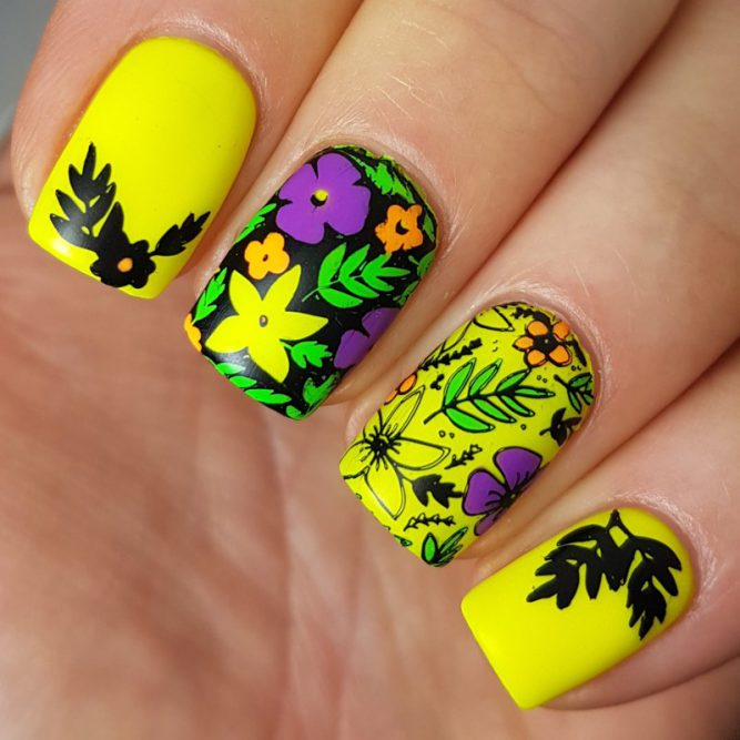 Harmony - bright neon yellow nail art matte top coat