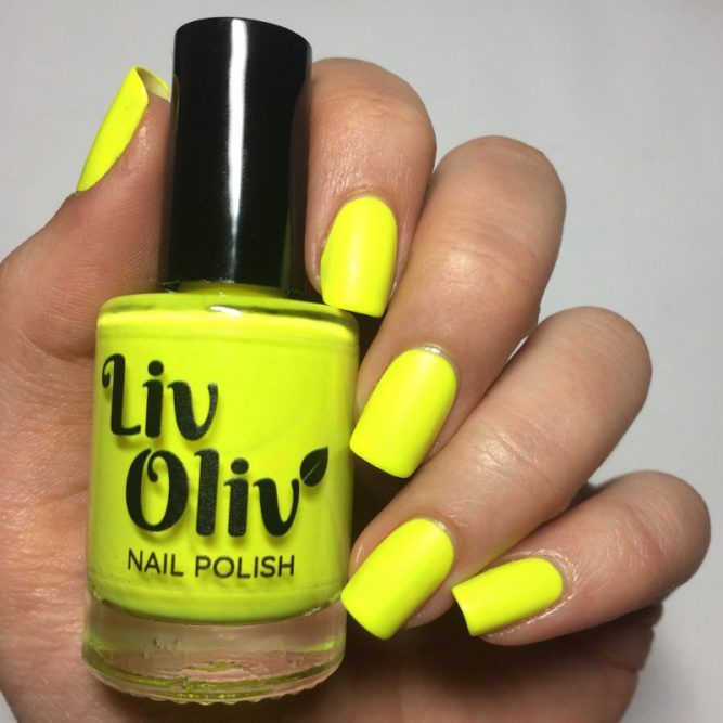 Harmony - bright neon yellow matte top coat