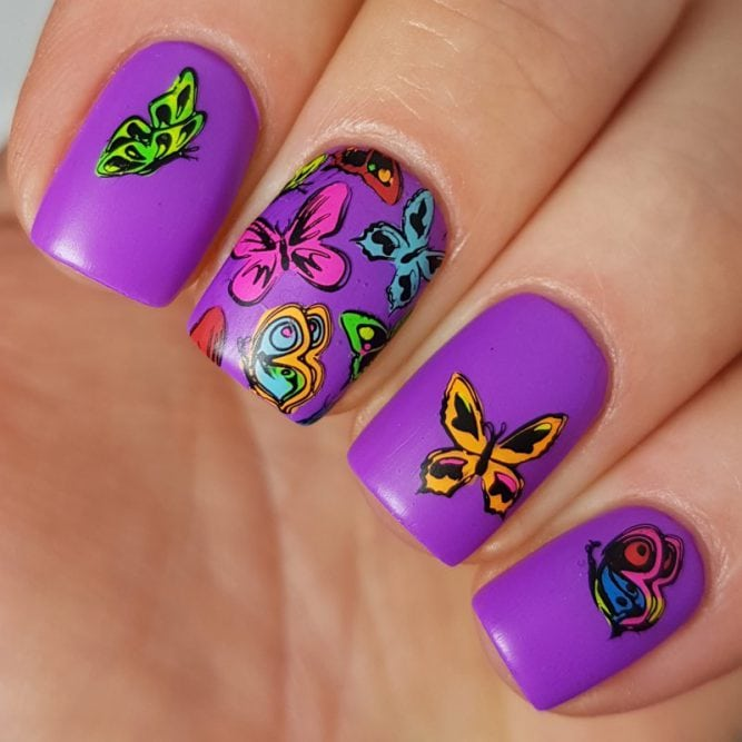 Peace nail art - bright neon purple matte top coat