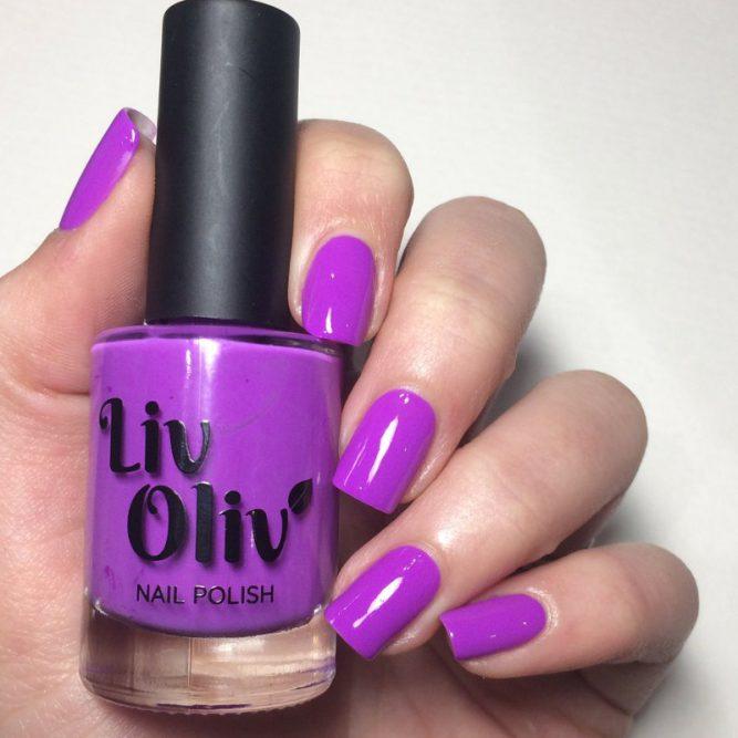 Peace swatch - bright neon purple gloss top coat