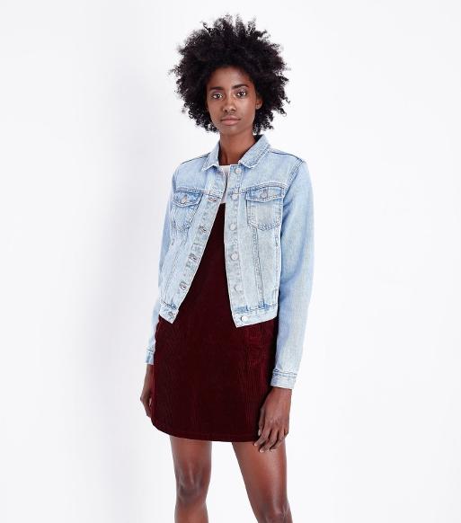Girl wearing Blue Light Wash Fitted Denim Jacket