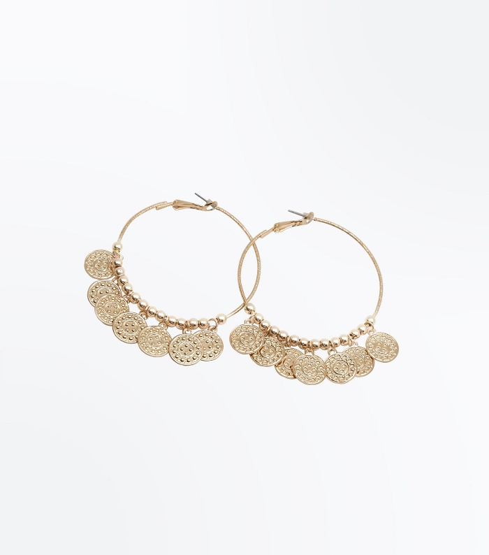 Gold Coin Hoop Earrings