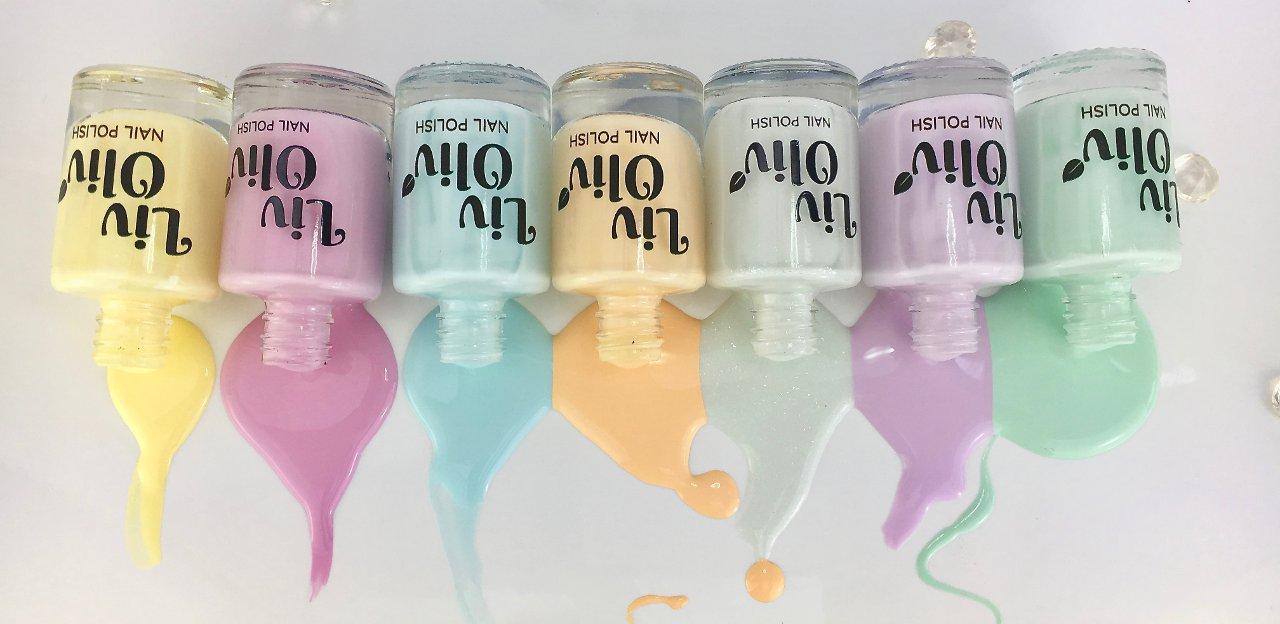 Nail polish pastels lineup spilt polish