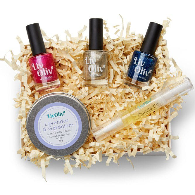 LivOliv Cruelty Free Gift Box with three nail polish, a hand cream and cuticle oil