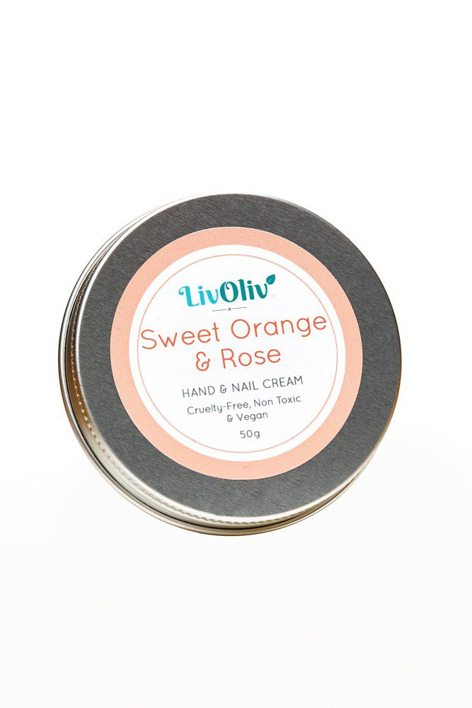 livoliv Sweet Orange and Rose cruelty free Natural Hand Cream in Silver Tin