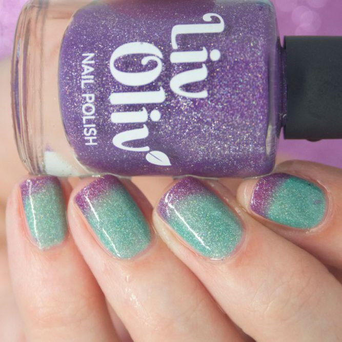 purple to aqua thermal cruelty free nail polish transition nails