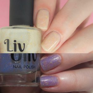 neutral to blue photochromic cruelty free nail polish transition nails