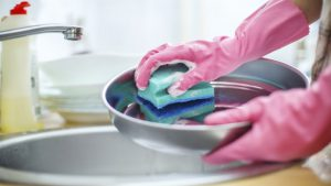 Pair of hands in pink marigolds scrubbing silver dish with sponge scrubber over round sink