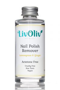 Acetone Free Nail Polish Remover in LivOliv Bottle