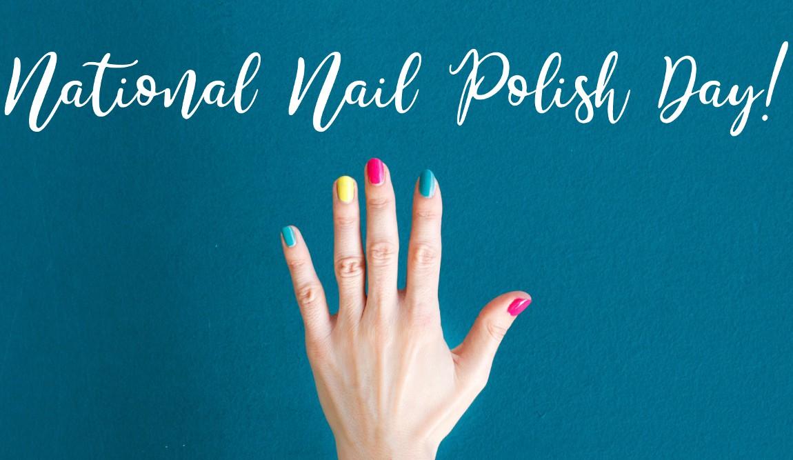 Hand with nail polish under National Nail Polish Day